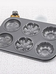 Iron Mixed Flower Non-stick Six Even Cake Bakeware Mould Set of 1 Piece,26x18x2.5cm