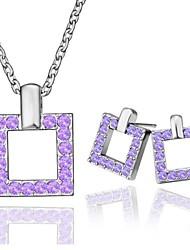 Современной площади оловянного сплава с платиновым напылением Фиолетовый комплект ювелирных изделий