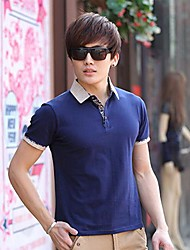 Men's Lapel Pure Colour T-Shirt