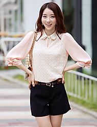 Women's Lace Pink Shirt , Shirt Collar Short Sleeve Bow/Lace