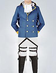 Attaque sur Titan Rivaille Levi bleu tissu uniforme Costume de Cosplay avec 2 Badges