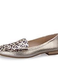 Zapatos Duomu Sexy Leopard Cúspide de base plana (Oro)