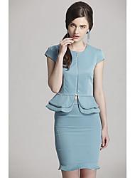 Z-Show Women's Mint Green Short Sleeve Round Collar Zipper Fishtail Designed Coat