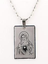 Personalizada del regalo del modelo Virgen María grabado collar