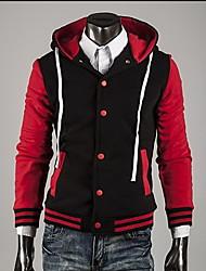 ZHELIN Men's Fashion Contrast Color Hoodie Buckle Random Color Coat