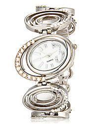 Women's Double Oval Dial Hollow Engraving Alloy Band Quartz Analog Bracelet Watch Cool Watches Unique Watches
