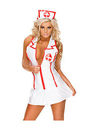 Cosplay Costumes Uniforms Festival/Holiday Halloween Costumes White Patchwork Dress / Headpiece Halloween / Carnival / New Year Female