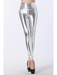 De las mujeres de plata de la alta cintura Leggings