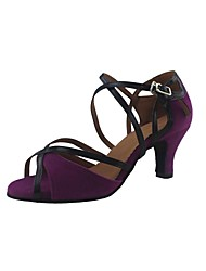 Customized Woman's Purple Velvet Latin Dance Shoes