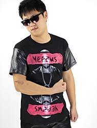 Men's Hip Hop Pu Sleeve T-shirt Men Streetwear