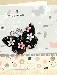 """""""Alive Spring"""" Square Side Fold Greeting Card with Butterfly and Rhinestone"""