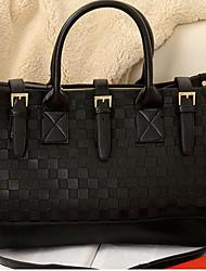 Эрлен Женская Элегантный корейский стиль шаблон проверки Tote / Одна сумка (черный)