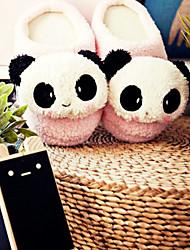 Netter rosa Lächeln Panda Wolle Frauen Slide Slipper