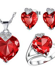 Charming versilbert Zirkonia-Herz-geformte Frauen-Schmuck-Set (Halskette, Ohrringe, Ring) (Rot, Lila)