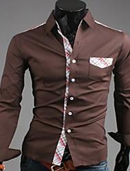 Hombres Moda Plaids Empalme Casual Shirts