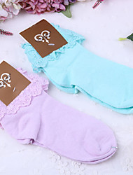 Socks/Stockings Sweet Lolita Lolita Blue Purple Lolita Accessories Socks Solid For Lace Polyester