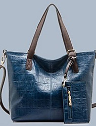 OPPO BAO Women's Causal Solid Color Wax PU Leather Lining Random Tote 14*30.5*35