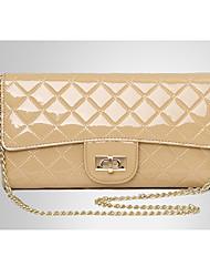 Women's Patent Leather Rhombic Lattice Clutch
