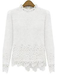 Women's White Long Sleeve Half High Collar Slim Irregular Lace Blouse