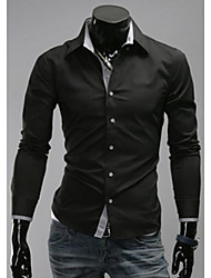 Hombres Mantas simple contraste de color causales Shirts