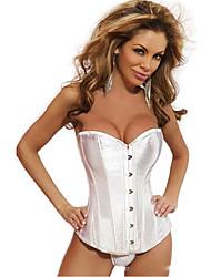 Shamina Frauen elegante einfache trägerlose Satin White Buckle Korsetts Shapewear