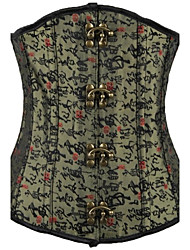 Sexy Metal Buckle Dark Green New  Women Slim Waist Closure Corset with Chinese Fonts