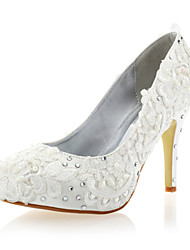 Women's Spring / Summer / Fall / Winter Heels / Closed Toe Lace / Satin Wedding / Party & Evening Stiletto Heel Rhinestone White