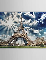 Натянутым холстом постер пейзаж солнечный свет Эйфелевой башни, Франция