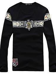 Men's Print Casual T-Shirt,Cotton Long Sleeve-Black / Green / Gray