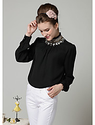 Women'S Spring High Neck Beads Blouse