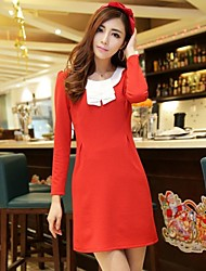 Women's Lotus Leaf Collar  Solid Color Long Sleeve Lady  Dress