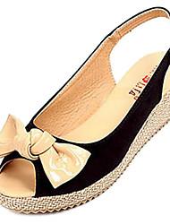 Segeltuch-Frauen Keilabsatz Slingback Sandalen Schuhe mit Bowknot (weitere Farben)