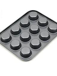 12 Cups Runde Muffin Pan, L 26cm x B 20,5 cm x H 2 cm, Nicht geklebt Coated