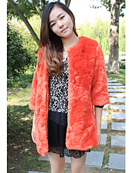 3/4 Sleeve Collarless Faux Fur Casual/Party Coat(More Colors)