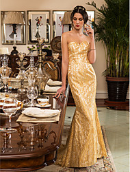 Lan Ting Trumpet/Mermaid Wedding Dress - Gold (color may vary by monitor) Sweep/Brush Train Sweetheart Lace