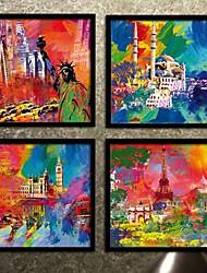 La Cité de l'architecture encadrée de toile colorée Imprimer Set de 4