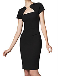 Ocidental Moda Bateau Slimming Bodycon vestido de manga curta MIUSOL WOMEN'S (Black)