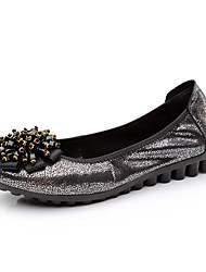 POEMLINE Women's Genuine Leather Flower All-Match Flat Shoes(Black)