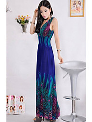 Women's Swing Dress,Print Deep V / Surplice Neck Maxi Sleeveless Blue / Black / Orange Others Summer