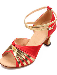 "Women's Latin Satin Heels Buckle Black Red Gold Royal Blue 2"" - 2 3/4"" Non Customizable"