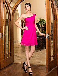 Cocktail Party / Holiday / Prom Dress - Fuchsia Plus Sizes / Petite A-line One Shoulder Short/Mini Chiffon