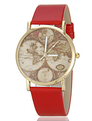 Women's Vintage Map Pattern PU Band Quartz Wrist Watch (Assorted Colors) Cool Watches Unique Watches Fashion Watch