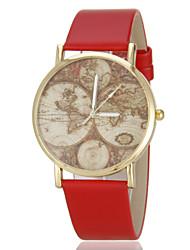 Mulheres Relógio de Moda Padrão Mapa do Mundo Quartzo PU Banda Preta Branco Azul Vermelho Marrom Rosa