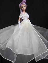 Barbie Doll Ivory Lace Gorgrous Wedding Dress