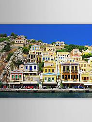 Stretched Canvas Print Art Landscape Greece's House