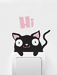 Animaux Chat de bande dessinée Coller Stickers muraux