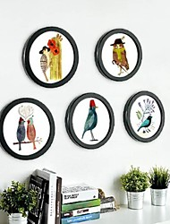 Collection Black Frame ronde mur Photo Set de 5