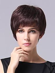 Fashion   Chestnut   Color  Inclined   Bang   Human   Hair    Short    Hair  Wig