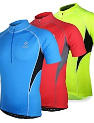 Arsuxeo Cycling Jersey Men's Short Sleeve Bike Jersey Tops Quick Dry Anatomic Design Front Zipper Breathable Polyester PatchworkSpring