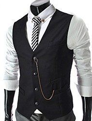 Men's Refined V-Neck Metal Chain Decoration Vest